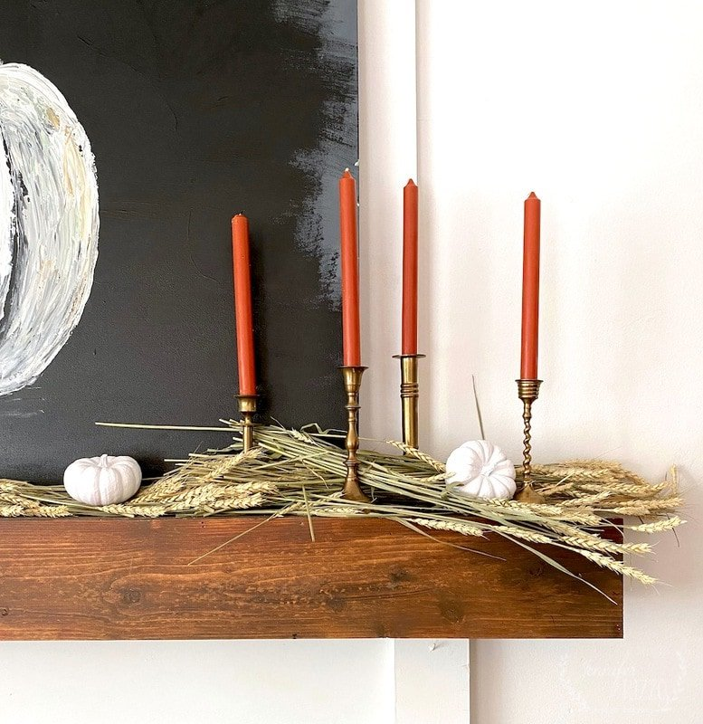 Fall Mantel with Wheat and Rustic Painted Pumpkin