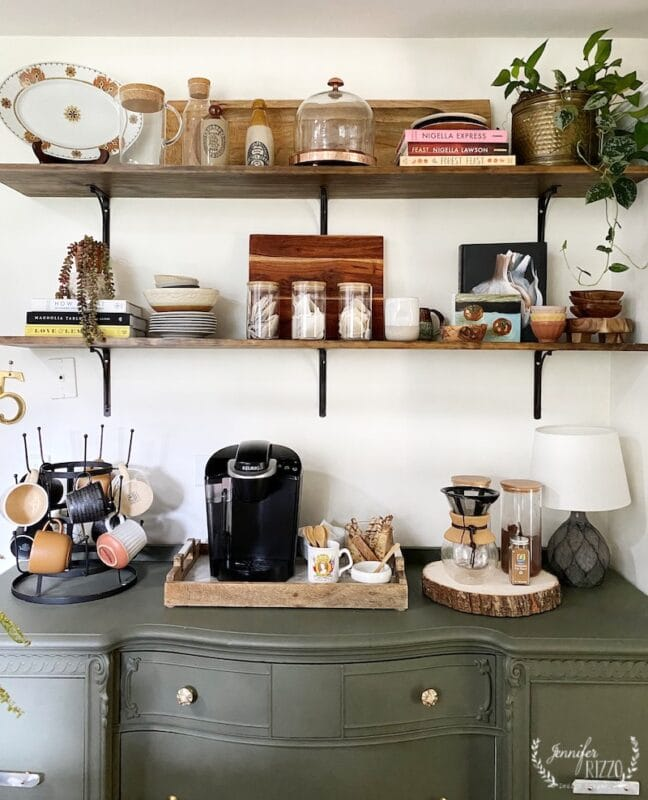 Open wood shelves with styling