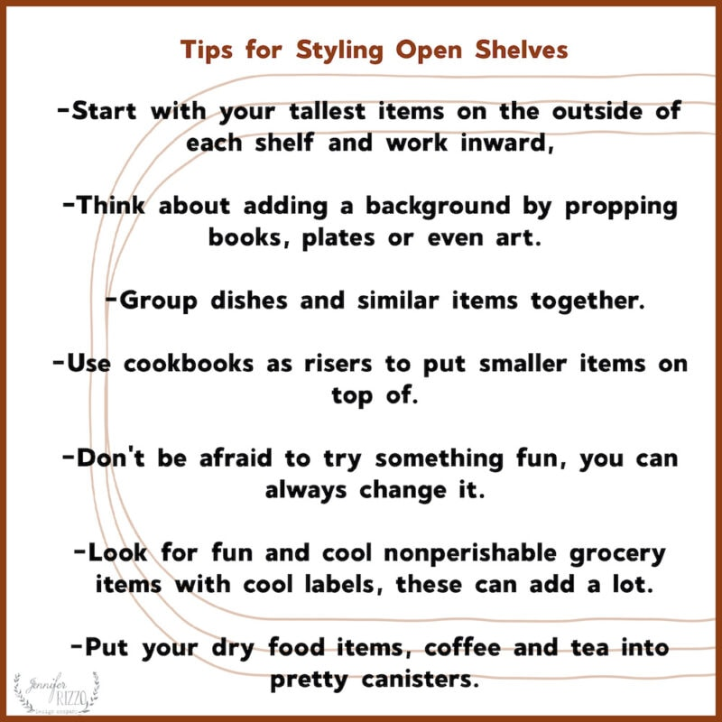Tips for easily styling open shelves