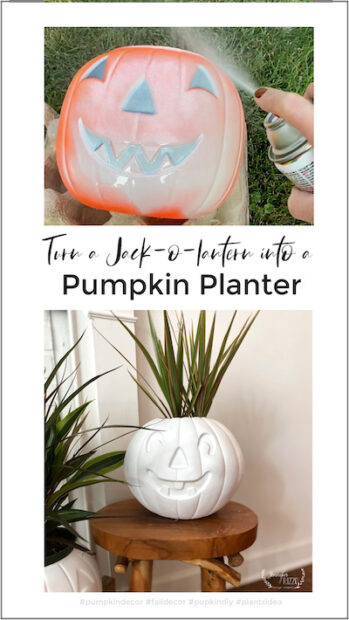 Turn a plastic pumpkin into a planter