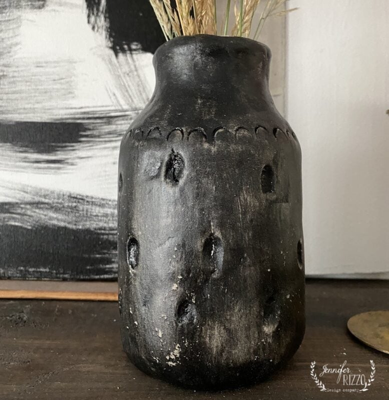Make a black vase with air dry clay
