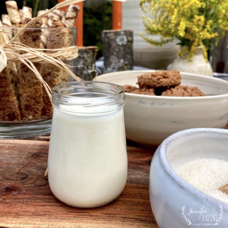 Milk in a Beechnut baby food jar as a creamer