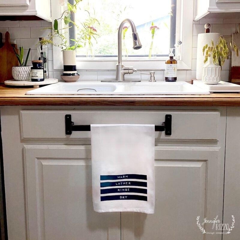 Wash lather rinse tea towel by Jennifer Rizzo