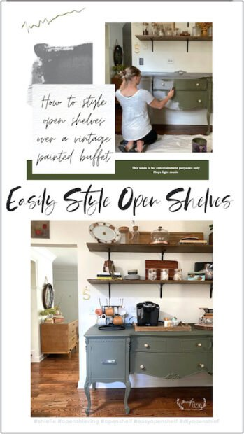 Easily style open shelves and a dark green painted buffet