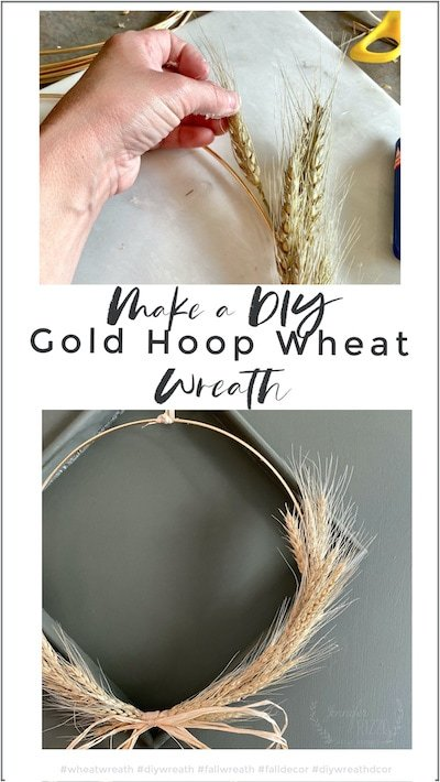 Make a DIY gold hoop wheat wreath