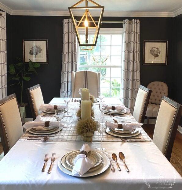 Dark gray wall paint on dining room walls