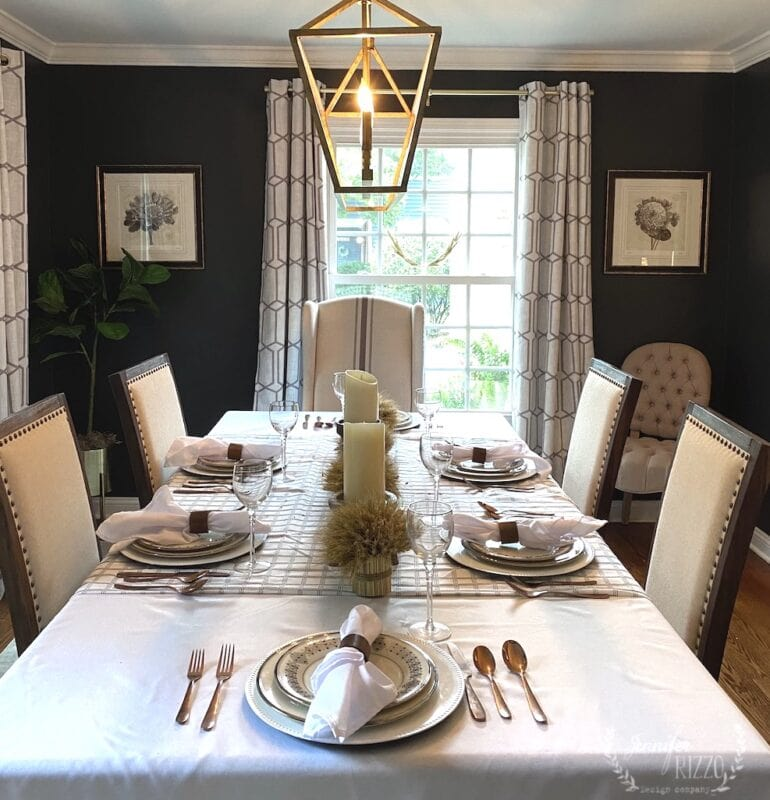 Dark gray wall paint on dining room walls