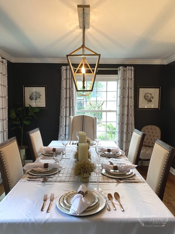 Dark gray painted dining room modenr farmhouse style
