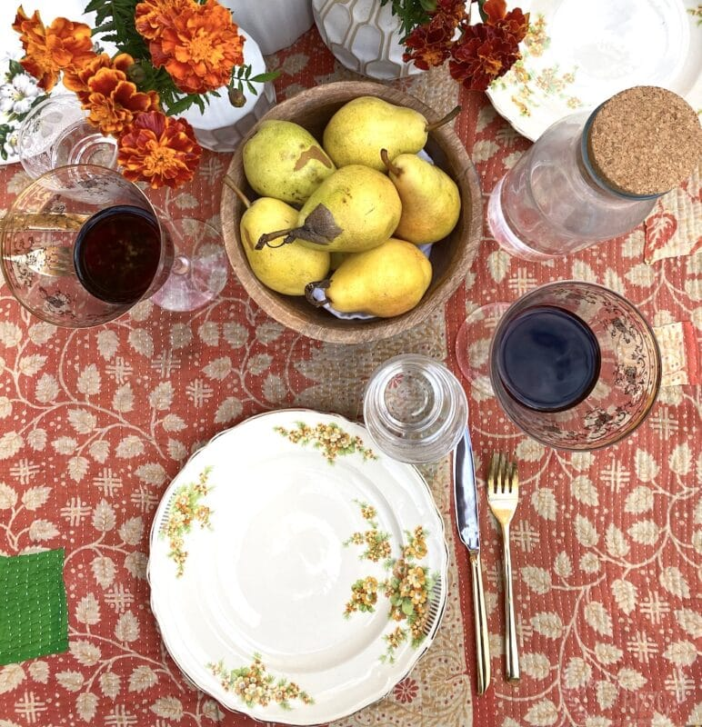 VIntage plates in a tablescape