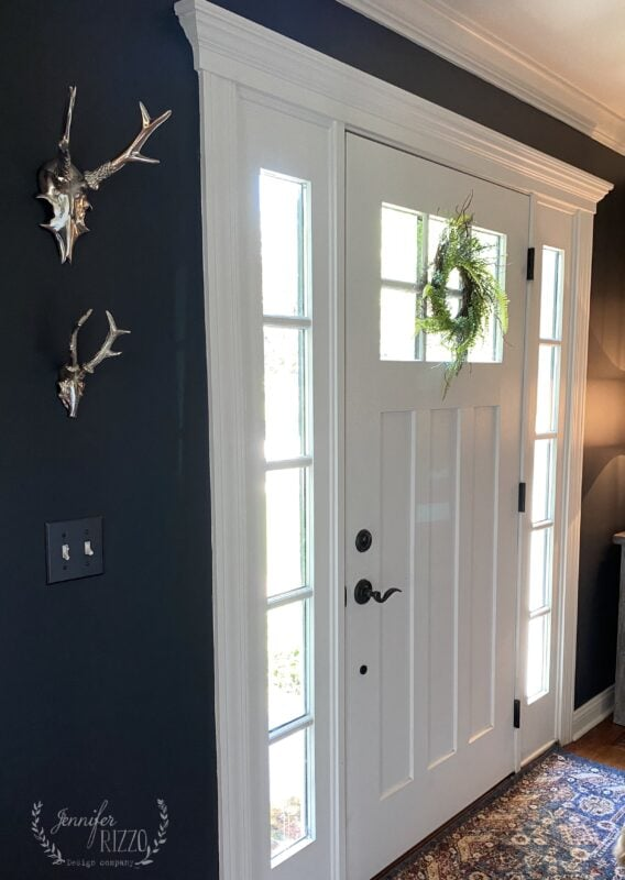 Dark gray wall color in foyer