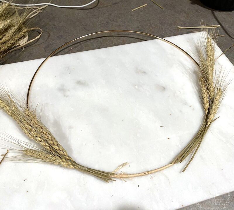 Lay out wheat on wreath