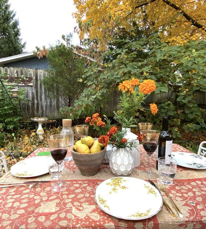 Fall tablescape with vintage dishes