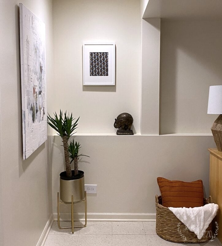 Art corner in basement family room