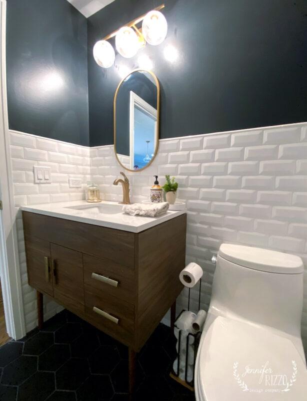 MCM inspired wood vanity in bathroom