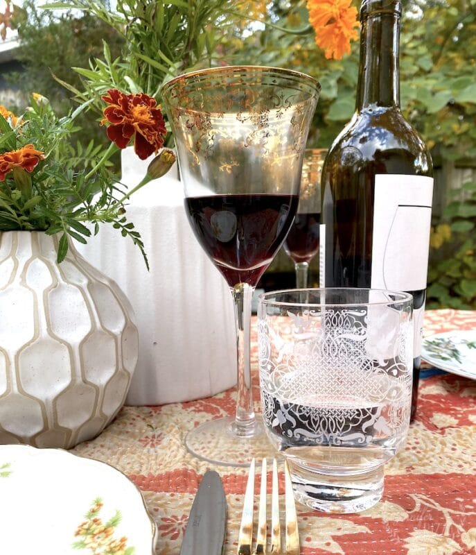 Vintage glasses in a tablescape