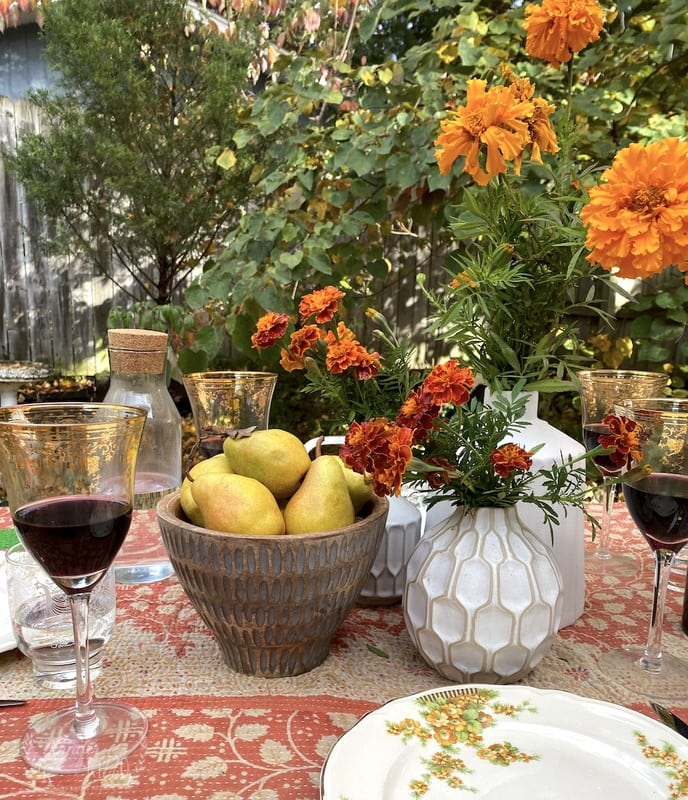 Marigolds and a Natural Fall Tablescape
