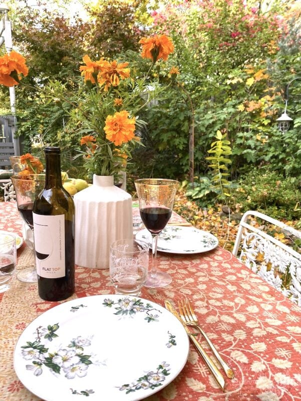 Marigolds as a table centerpiece