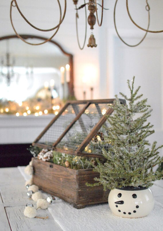 Holiday vignette with Fox Hollow Cottage