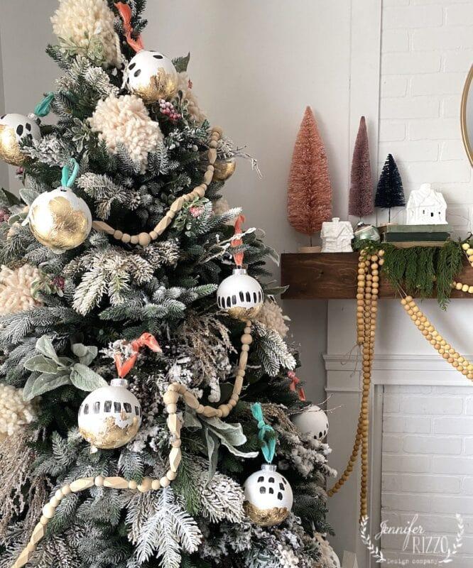 Boho and gold leaf Christmas tree
