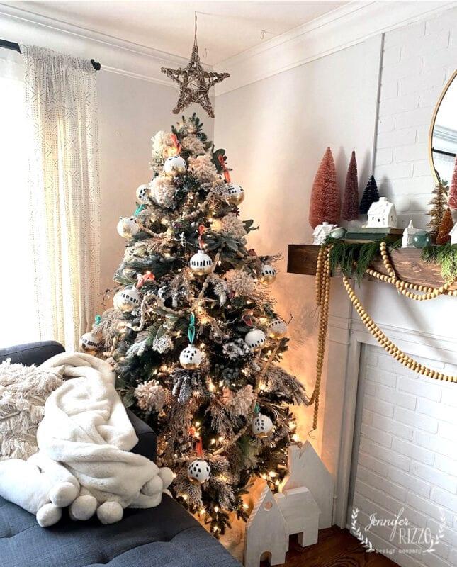 Boho handpainted Christmas snowy tree