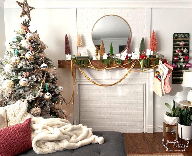 Bottlebrush mantel and boho Christmas tree