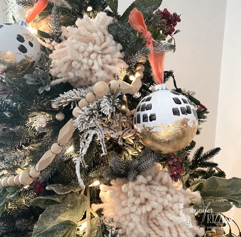 DIY boho black and white ornament with gold leafing