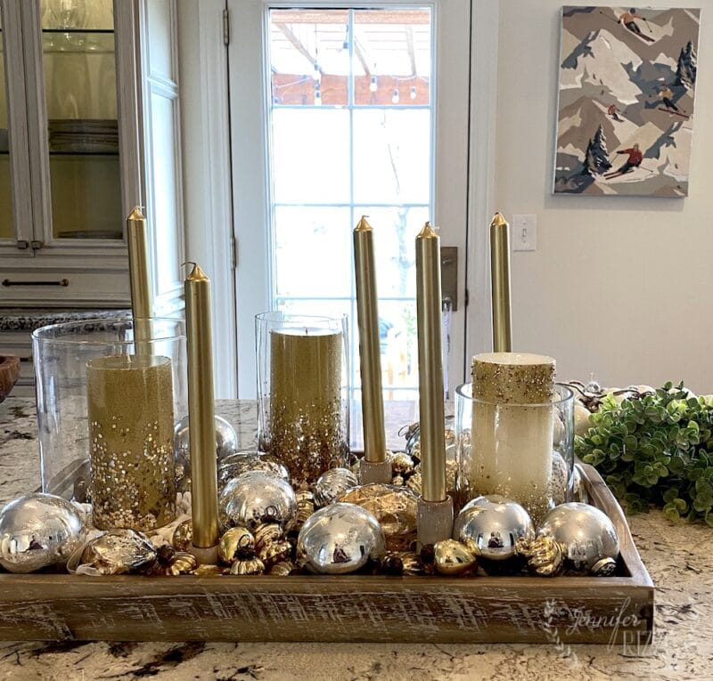 Easy tray styling idea with ornaments and candles