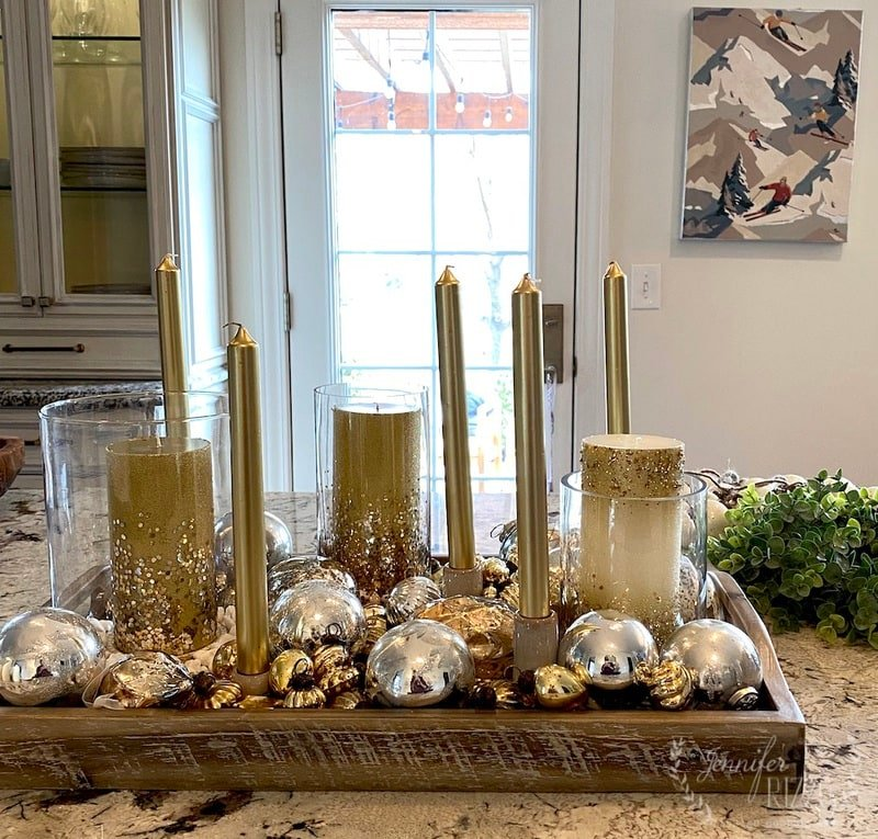 Two Easy Holiday Tray Styling Ideas with Ornaments and Candles