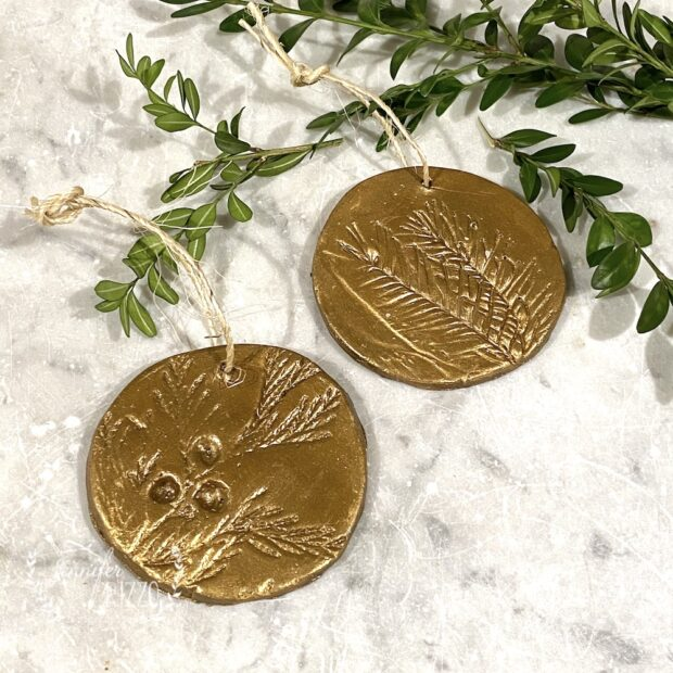 Faux Pressed Brass Botanical Ornaments