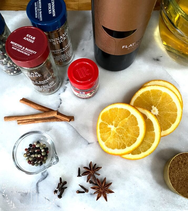 Spices and orange for mulled wine