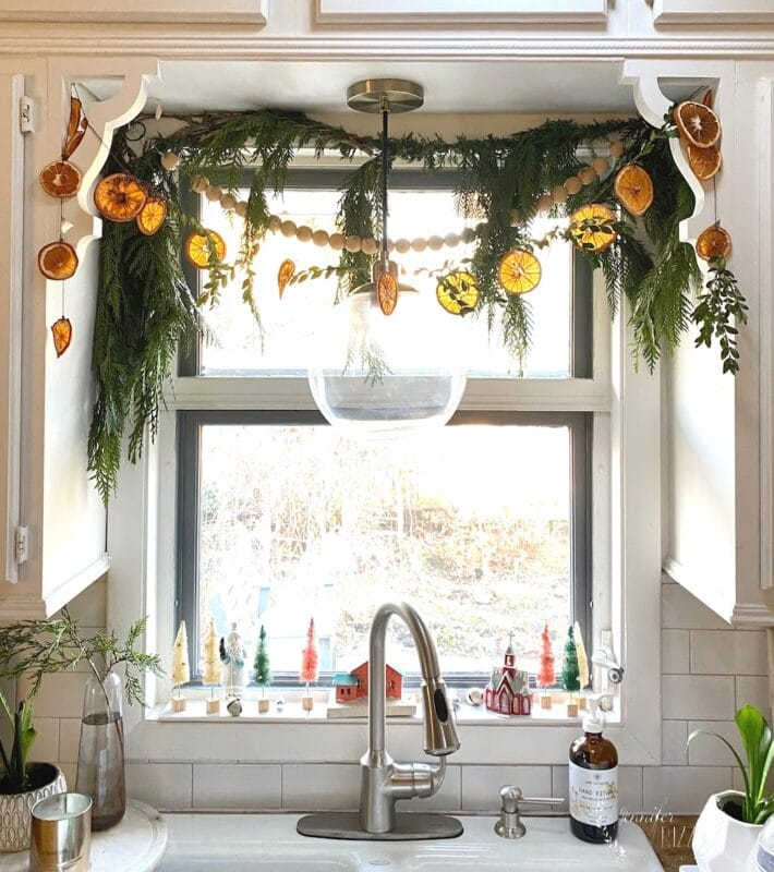 Kitchen window with greenery and orange