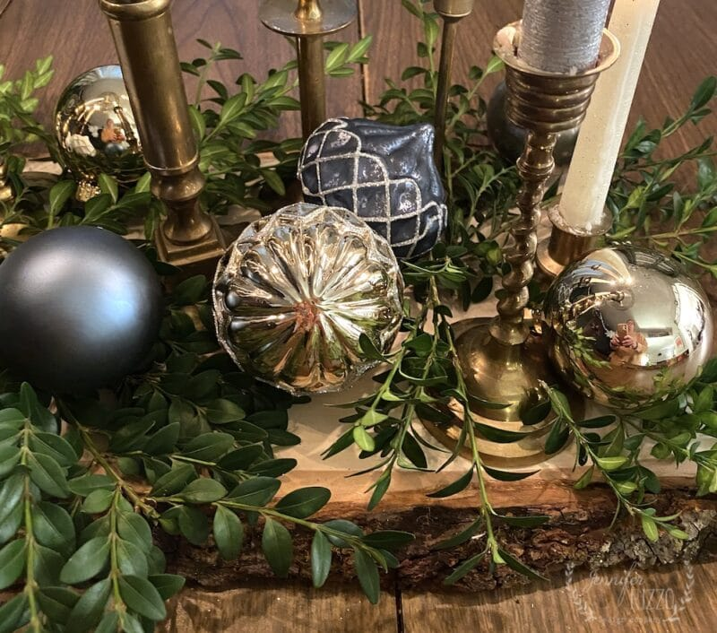 Two ways to style holiday trays with ornaments and candles