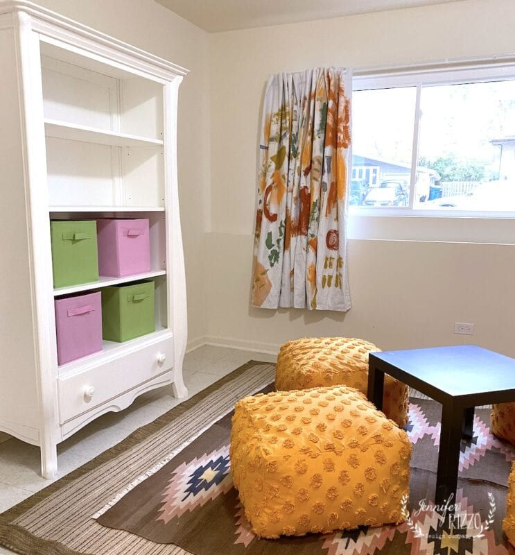 Play room with hand painted curtains