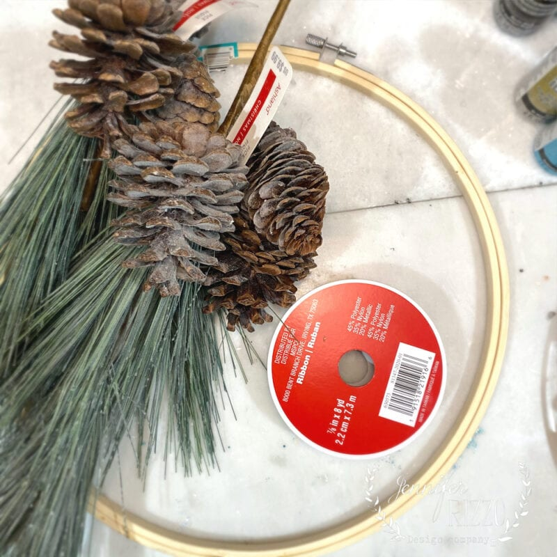 Supplies for embroidery hoop wreath