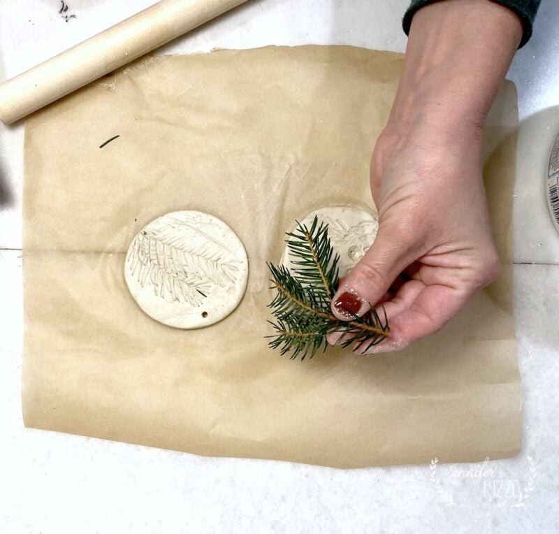Use stiff greenery such as pine to press into clay