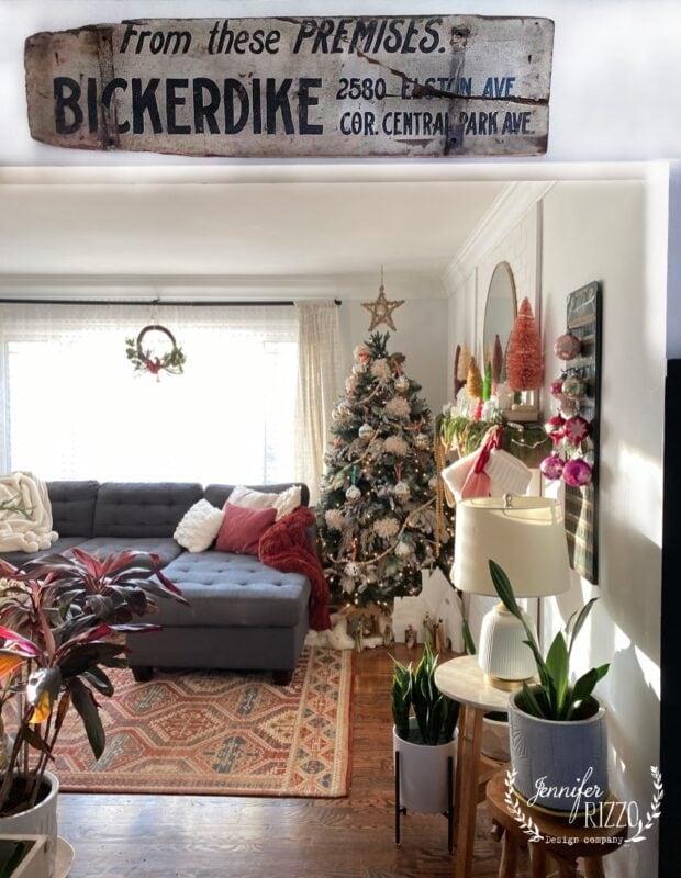 Vintage sign and boho tree