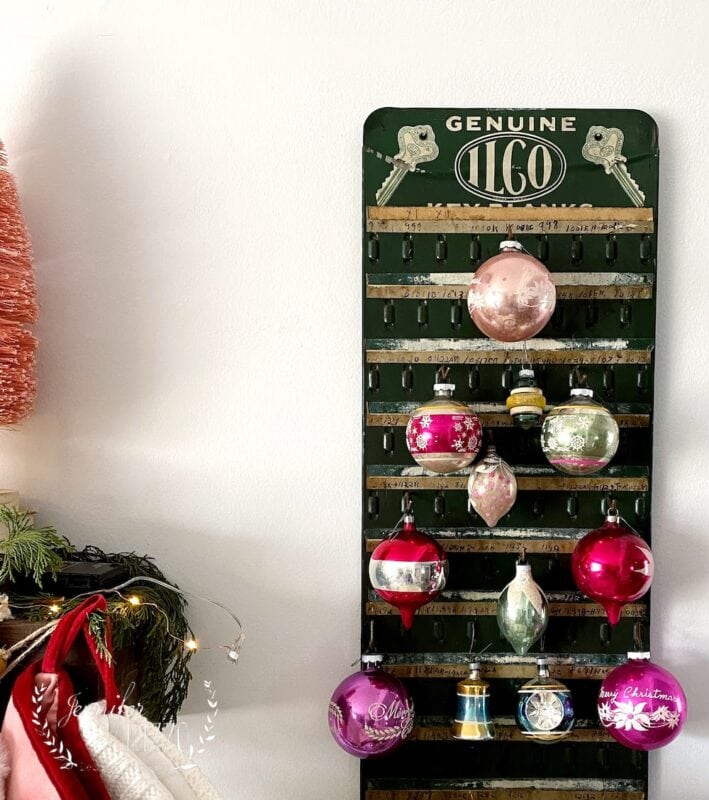 Vintage Key rack with Shiny Brite's in a tree pattern
