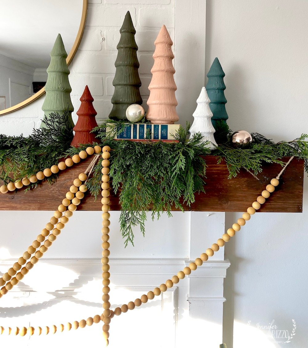 Wood beads and Baking soda painted ceramic trees in matte paint