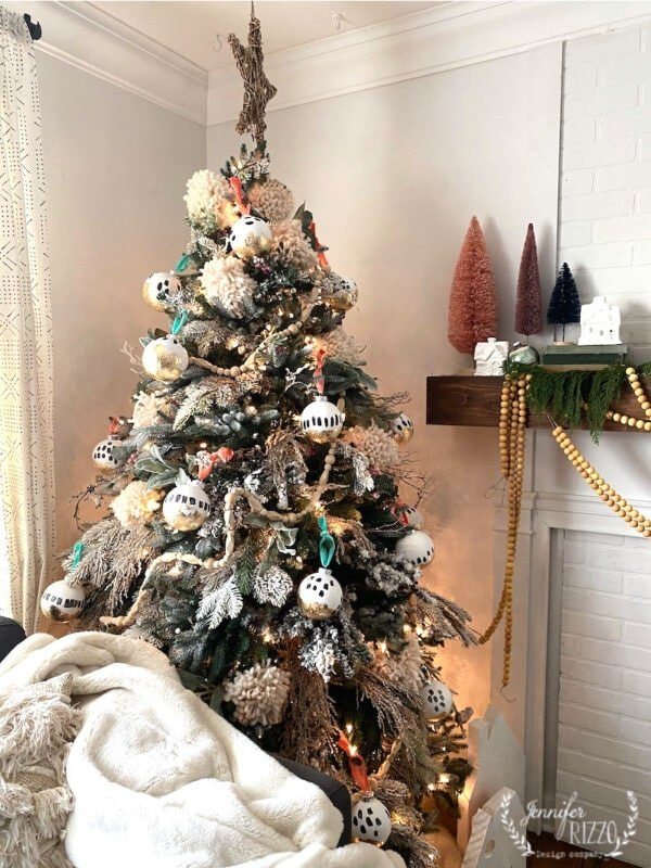 Wood beads on a DIY boho modern ornament tree