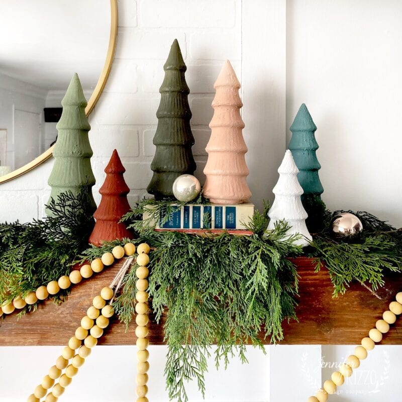 painted upcycled ceramic Christmas trees