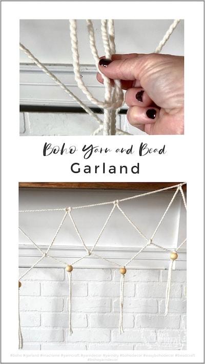 Boho yarn and bead garland decor no macrame required