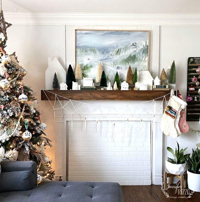 Bottlebrush tree white and green mantel with boho yarn garland