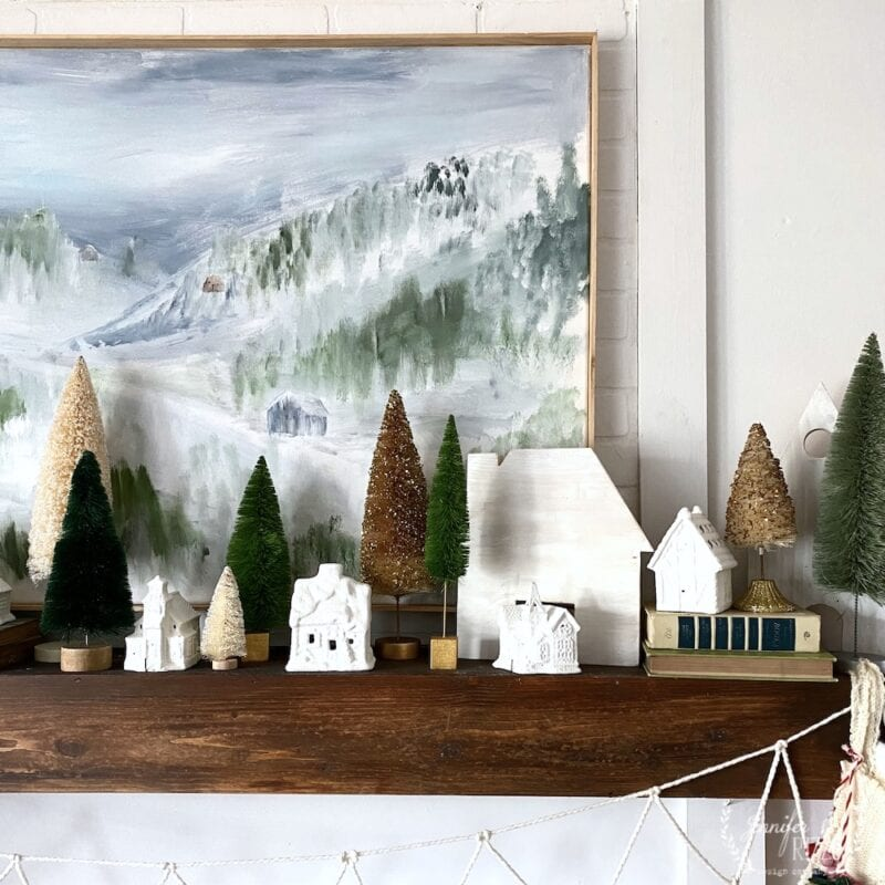 Christmas cottages and bottle brush trees