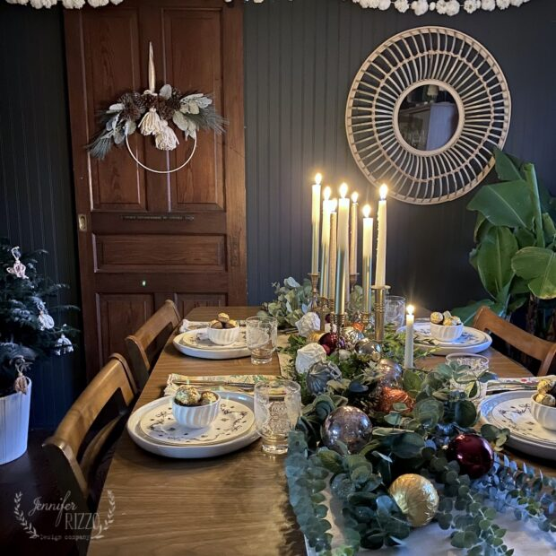 Dark and moody tablescape idea with candles