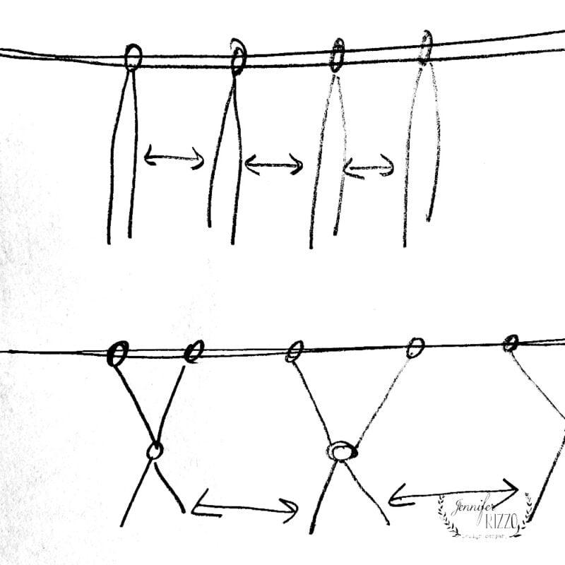 Easy Yarn knotting pattern for boho garland