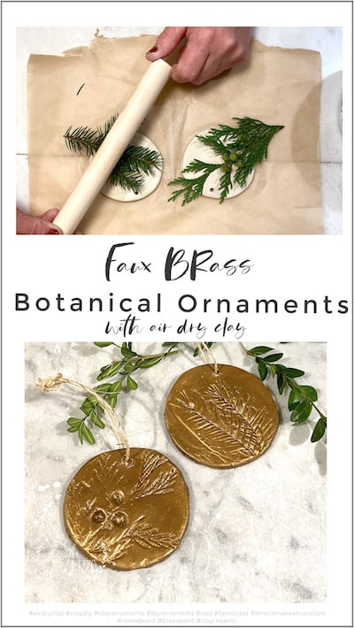 Faux brass botanical ornaments from clay
