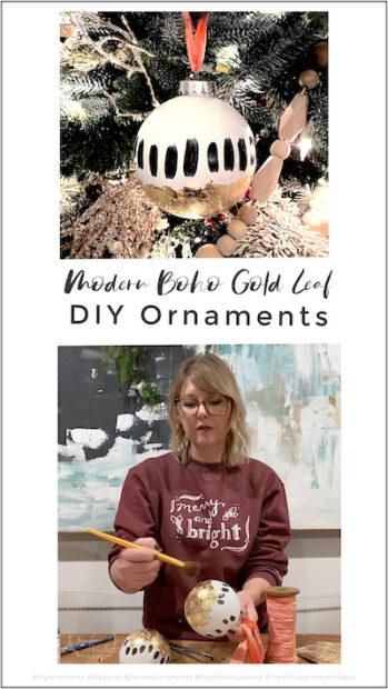 Modern Painted DIY Boho Gold Leaf Ornaments