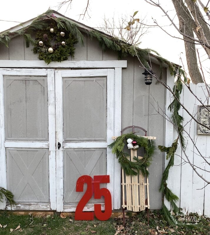 Outdoor shed with holiday decor