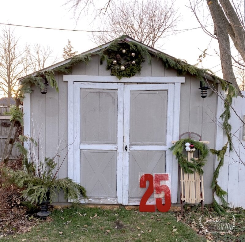 Shed decorated for the holidays