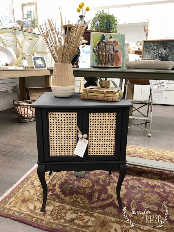 Small end table with caned doors